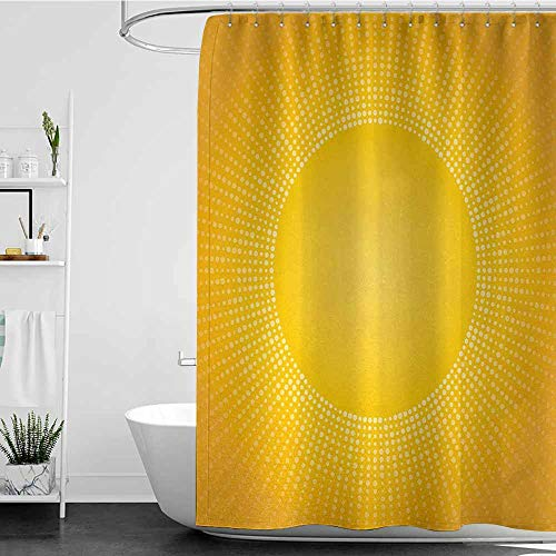 SKDSArts Shower Curtains with Yellow Yellow,Moden Digital Image of The Sun with Sunshine in Cool Circular Pixels Artwork,Yellow and White,W69 x L90,Shower Curtain for Shower stall]()