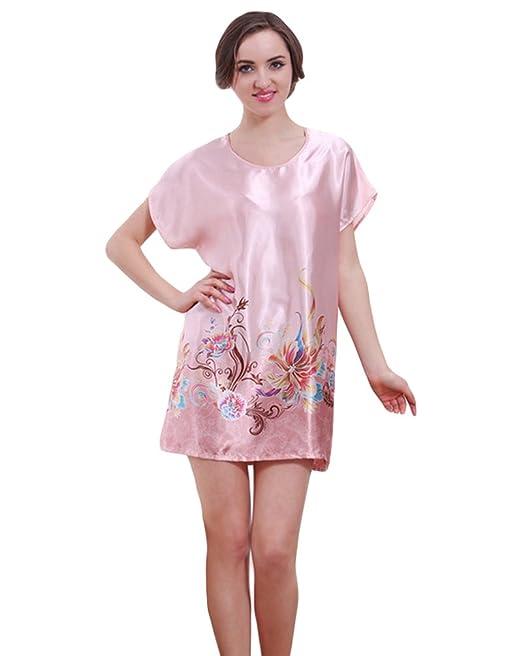 CHENGYANG Mujer Ropa Interior Encaje Seda Satén Camisón Bata Dormir Pijama Pink