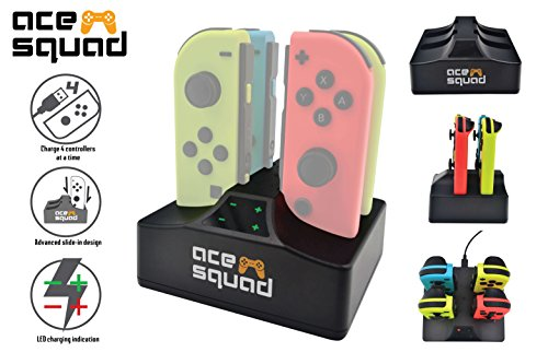 Charging Dock for Switch Joy Con w/ USB C Cable - 4 Ports Switch Controller Charging Station - Joy-Con Charger - Fast Charging w/ Light Indicator Easy Plug-in for Joy-Cons by AceSquad