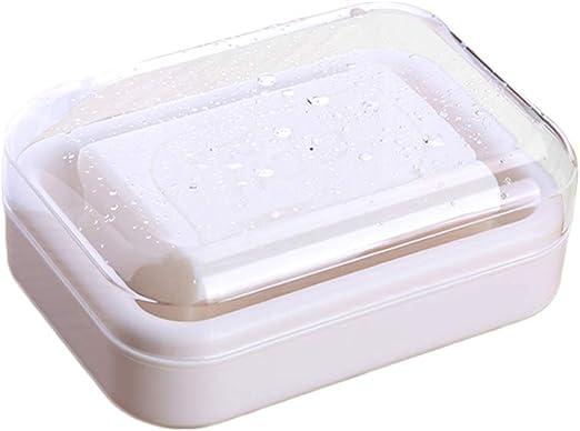 Yardwe Caja de jabón para Viaje Moderna Drenaje de la jabonera con Tapa Transparente (Blanco Beige): Amazon.es: Hogar