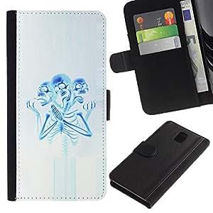 UPPERHAND Imagen de Estilo Cuero billetera Ranura Tarjeta Funda Cover Case Voltear TPU Carcasas Protectora Para Samsung Galaxy Note 3 III N9000 N9002 N9005 - esqueleto rezando azul blanco fantasmagórico