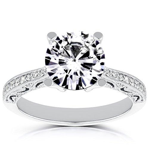 Vintage Style ronde Diamant Bague de Fiançailles 17/8ND Outlet Bague en palladium _ 7.0