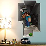 LARGE 21.3 x 34.3 in Minecraft Steve Digging Wall Sticker/Decal For Minecraft Theme bedroom Decor