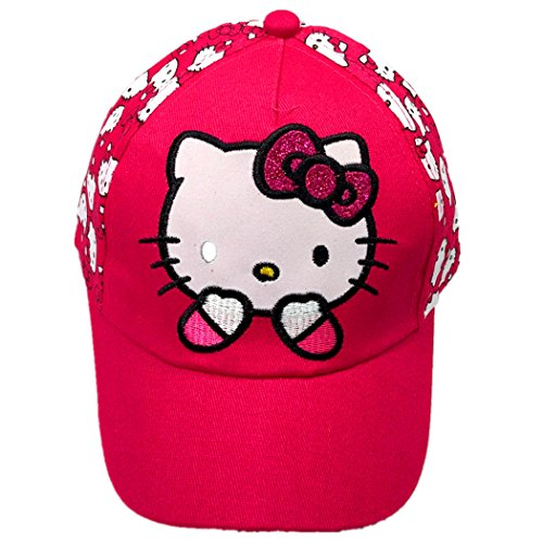 Hello Kitty Pure Cotton Sun Cap for Children, Children's Hat Baseball Cap, Peaked Cap (red)