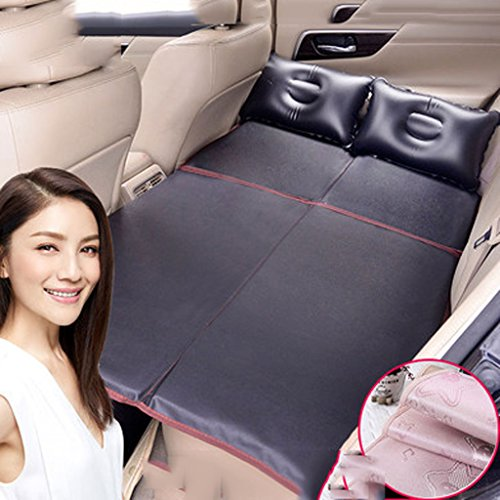 Car Non-inflatable Travel Folding Bed Rear Exhaust Cushion Car Bed Rear Car Mid Bed (Color : Black) ()