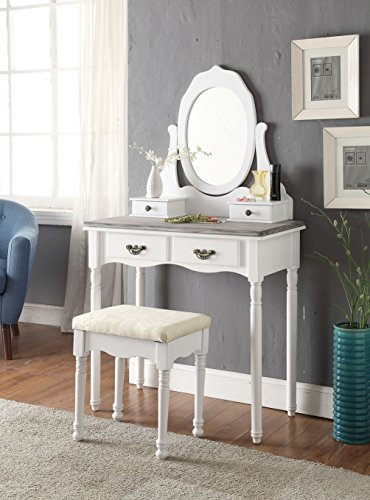 3-Piece Wood Make-Up Mirror Vanity Dresser Table and Stool Set, White and Grey Grey Vanity