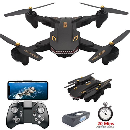 Drone with Camera Live Video, Teeggi VISUO XS809S WiFi FPV RC Qudcopter with 720P HD Camera Foldable Drone for Beginners - Altitude Hold Headless Mode One Key Off/Landing APP Control Long Flight Time