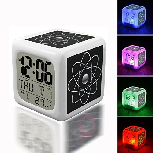 Alarm Clock 7 LED Color Changing Wake Up Bedroom with Data and Temperature Display (Changable Color) Customize The pattern-184.Abstract, Art, Atom, Atomic, Building Block, Geometric