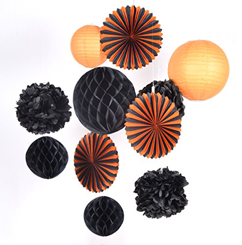 PAPERJAZZ 11 pcs Tissue Paper Lantern Honeycomb Ball Fan for Halloween Party -