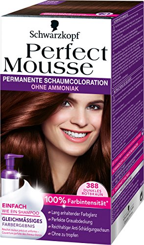 Perfect Mousse permanente Schaumcoloration, 388 Dunkles Rotbraun, 3er Pack (3 x 1 Stück)