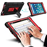 All-New Amazon Fire HD 8 2017 Case with Stand, Elegant Choise Heavy Duty [Shockproof] Full Body Armor Defender Rugged Protective Cover Case for Amazon Kindle Fire 8 2017Release(Red/Black)