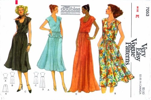 Misses Dress Top Skirt Vogue 7053 Vintage Sewing Pattern Check Offers for Size