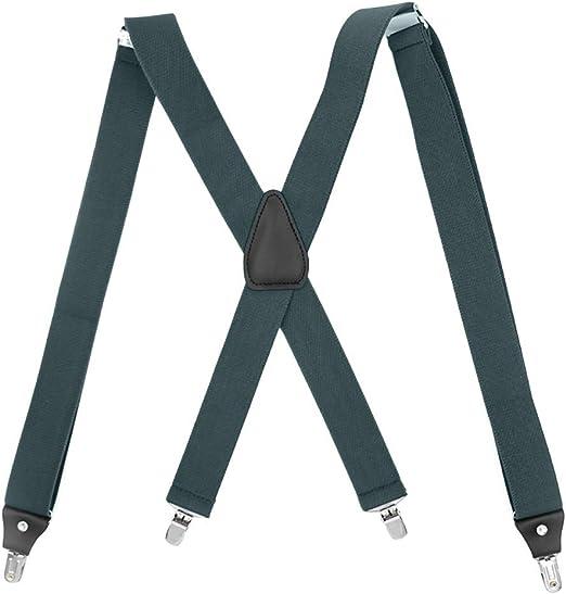 "Navy, Mens Suspenders X-Back 2/"" Wide Adjustable Solid Straight Clip Suspenders"