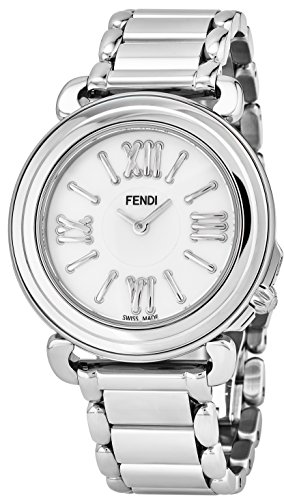 Fendi Selleria Womens Stainless Steel Fashion Swiss Watch - Mother of Pearl Face Vintage Dress Watch For Women with Interchangeable Band - Clearance Fendi
