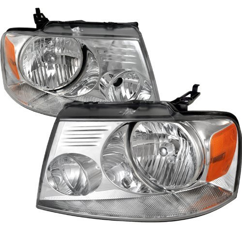 Spec-D Tuning 2LH-F15004-RS Ford F150 Crystal Chrome Clear Oem Style Head Lights Lamps Pair - Oem Style Headlight