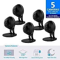 Samsung SNH-V6414BMR SmartCam HD Full HD 1080p Wi-Fi Camera Bundle Five Pack (Certified Refurbished)