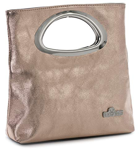 LIATALIA Plain Italian Suede Leather Top Handle Small Foldable Evening Purse Clutch Bag - RHEA [Metallic - Rose -