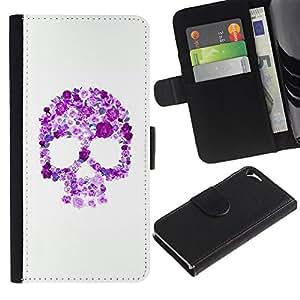 Be-Star la tarjeta de Crédito Slots PU Funda de cuero Monedero caso cubierta de piel Para Apple Iphone 5 / 5S ( Floral Purple Skull White Pink Spring )