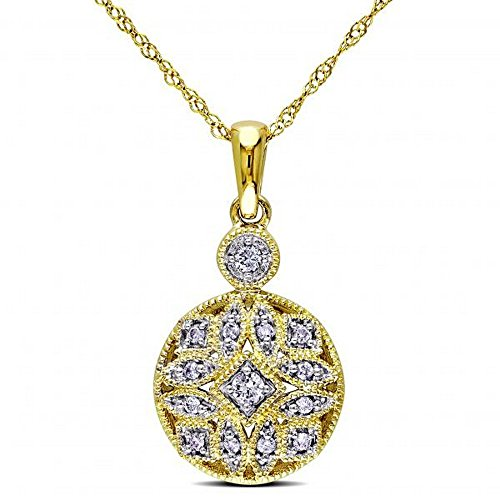 Ladies Vintage Style, Pave Set Diamond Pendant Necklace and 17 inch Chain in 14k Yellow Gold 0.12ct (Style Pave Set Diamond)