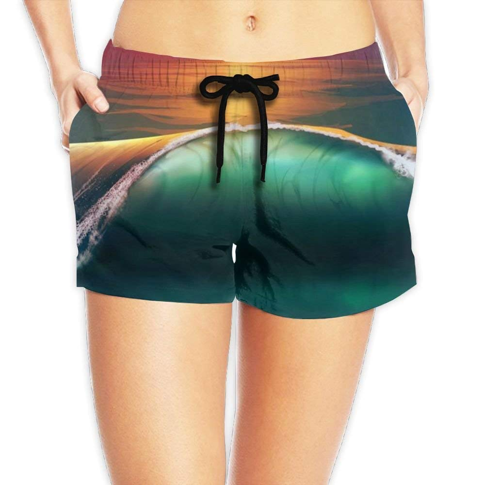 Hmihilu Womens Elastic Lounge Shorts Green Camouflage Beach Shorts