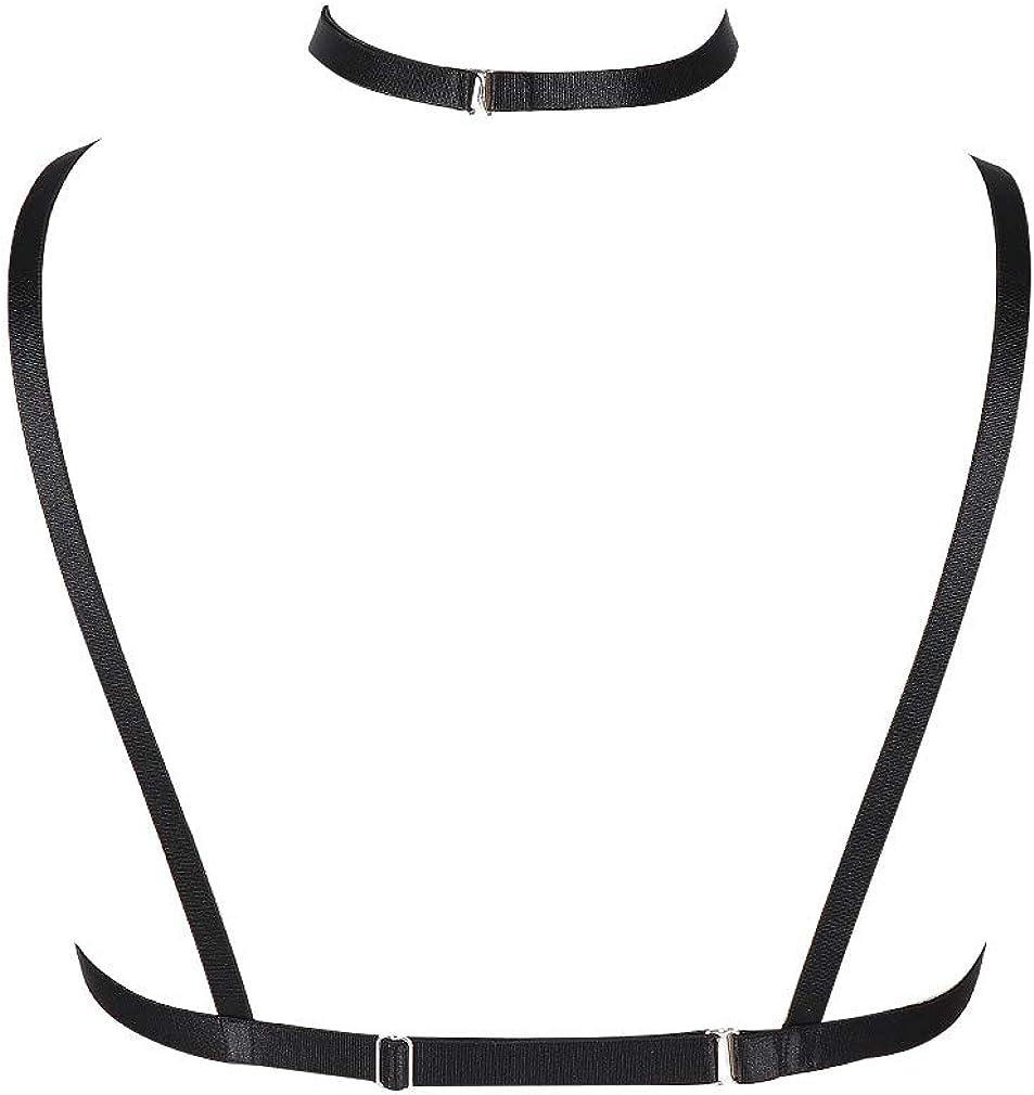 BANSSGOTH Damen Body Harness Tailleng/ürtel Strappy Tops Elastisch Verstellbar K/äfig Cupless BH Punk Gothic Dance Rave Kost/üm