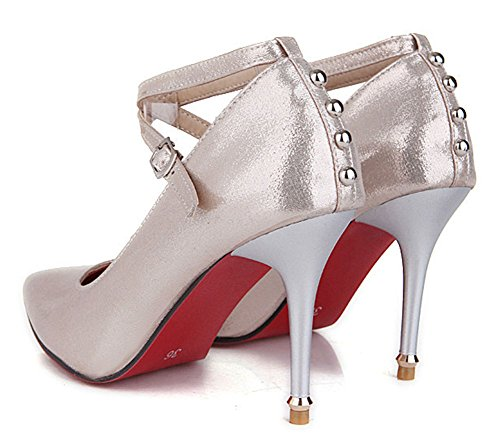 Easemax Womens Cinturino Alla Caviglia Fibbia Tacco Alto Tacchi A Spillo Borchie Pompe Sandali Oro