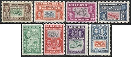 Liberia Stamps 1952 MNH 8v. Complete Set Honoring Yehudi Ashmun Edition Maps (Mnh Map)