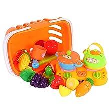 Shopping Fruit Vegetable Basket Supermarket Kids Role Pretend Toy Set of 17