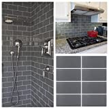 3'x6' Gray Crystal Glass Subway Tile For Kitchen Bathroom Shower Wall (3' x 6' Sample $5.99)