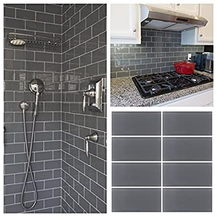 3 X6 Gray Crystal Glass Subway Tile For Kitchen Bathroom Shower