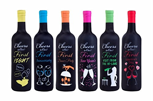 First Year of Marriage Milestones, Wine Bottle Covers - Bridal Gift - 6 Pack by Toast The Firsts