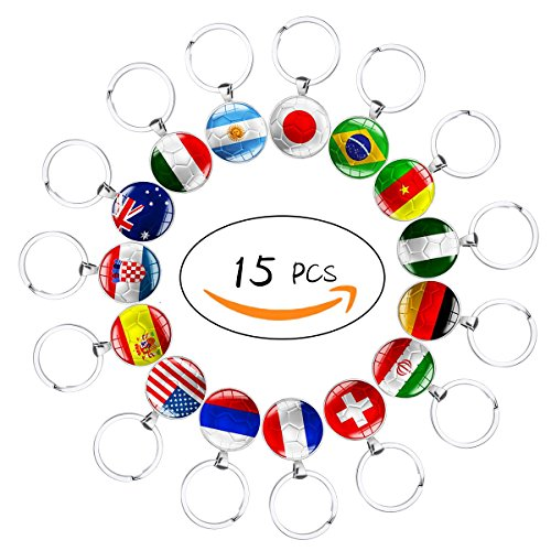 Set of 15 Pcs Metal National Flag Football Pattern Keychain Key Rings for Soccer Match 2018 FIFA World Cup Football Fans Gift Metal Foot Ring