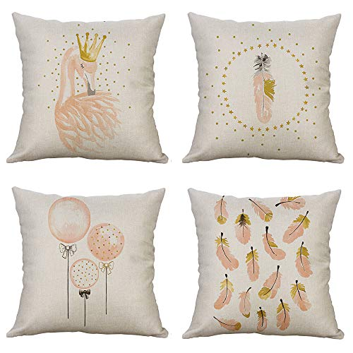 MUILEE Pack of 4 Decorative Pillow Cover Elegant Swan Pink Feathers and Balloon Pattern Throw Pillow Case Cotton Linen Bunny Pillow Case for Car Sofa Bed Couch 18 x 18 Inch (Swan Bench)