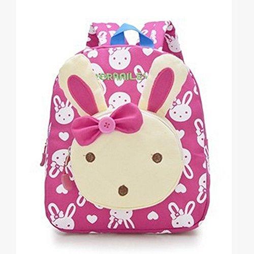 Neeior Cute Bunny Baby Canvas Backpack Toddlers Girls/Boys Preschool Bag Shoulder Rucksack Rose Red