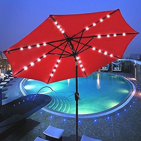 9' Outdoor Patio LED Solar Powered Aluminium Umbrella Crank Tilt UV30+ 180g Red