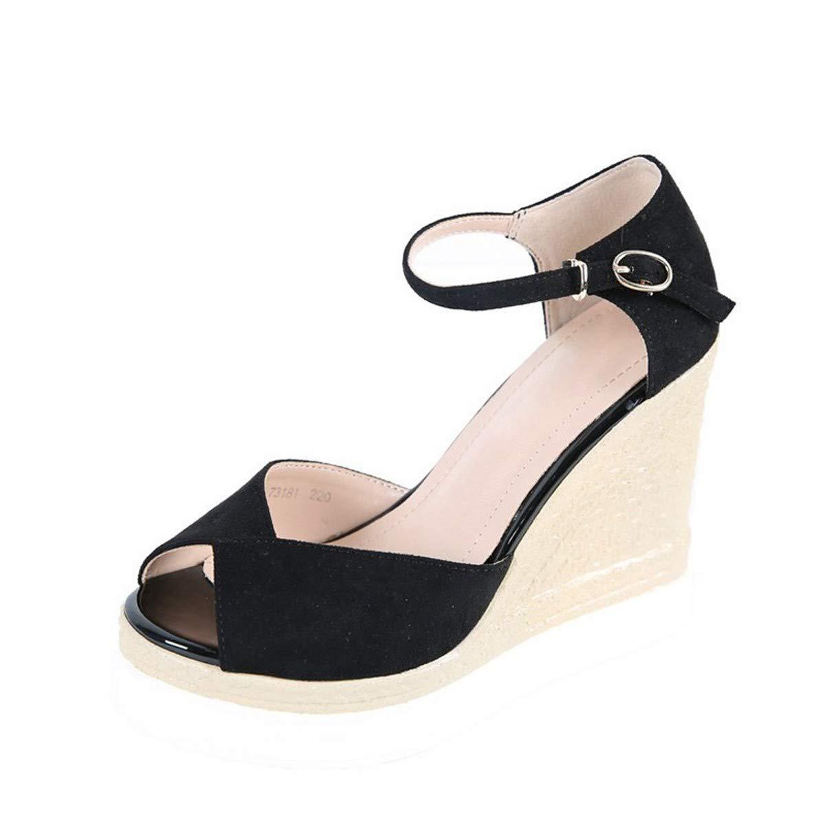 LBTSQ-Hang betuchte Sandalen Hochhackige Schuhe mit Dicken Sohlen Wasserdicht 11cm Ein Wort an-Farb-Fisch im Mund Mode Damenschuhe