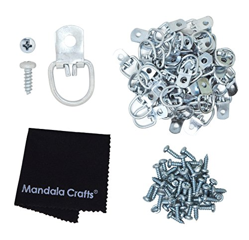 Mandala Crafts Heavy Duty D-ring Strap Hangers Hooks with Screws for Mirror Sign Frame Art Picture Hanging (Pro, Silver 100 - Wire Silver Gallery