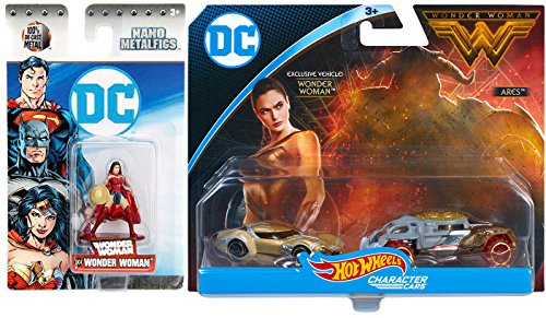 Hot Wheels DC Comics 1:64 Scale Character Car - Wonder Woman Exclusive 2 Pack Ares + Mini Figure Nano Metalfig DC4