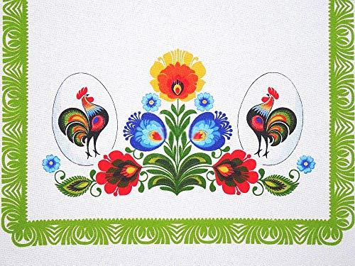 (Polish Traditional Rooster Folk Art Table Linen Topper (Runner 37.4