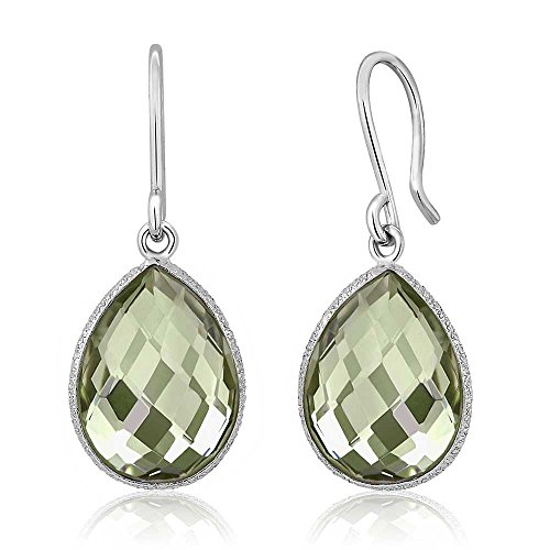 Gem Stone King 925 Sterling Silver Green Amethyst Dangle Earrings, 13.00 Ctw 16X12MM Pear Shape