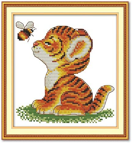 Joy Sunday Cross Stitch Kits 11CT Stamped Seven Color Fox 11x15 or 28cmx38cm Easy Patterns Embroidery for Girls Crafts DMC Cross-Stitch Supplies Needlework Animal Series
