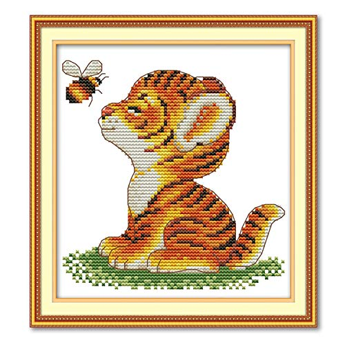Cross Stitch Stamped Kits Quilt Pre-Printed Cross-Stitching Patterns for Beginner Kids Adults, Embroidery Crafts Needlepoint Starter Kits, Tiger and Bee