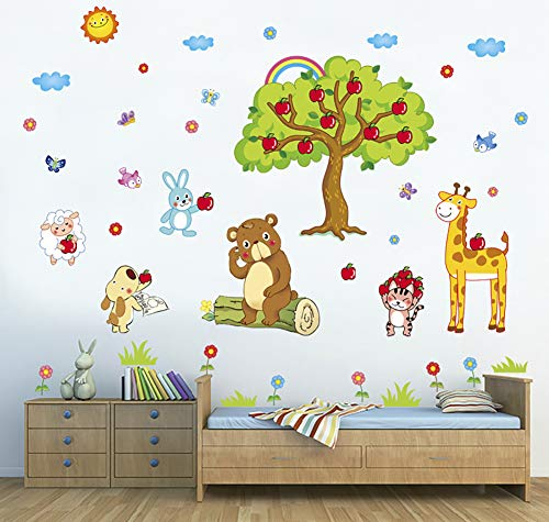 ChezMax DIY Cartoon Animals Wall Decals Wall Stickers Removable Mural Decor for Kids Nursery Bedroom Living Room Apple Tree ()