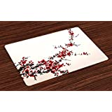 Art Place Mats Set of 4 by Ambesonne, Cherry Blossom Sakura Tree Branches Ink Paint Stylized Japanese Artful Pattern, Washable Placemats for Dining Room Kitchen Table Decoration, Red Cream Brown