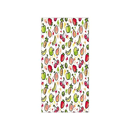 3D Decorative Film Privacy Window Film No Glue,Fruits,Watercolor Pear Cherries Kiwi Apple Brushstroke Splashes Cute Kids Kitchen Decorative,Peach Lime Green Red,for Home&Office