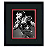 Atlanta Falcons Black Wood Frame with a Triple Mat - Black , Red, and Football Textured Mats