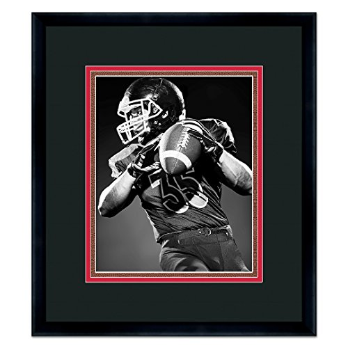 Atlanta Falcons Black Wood Frame for a 8x10 Photo with a Triple Mat - Black , Red, and Football Textured Mats Atlanta Falcons Football Mat