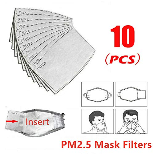 Migugu Kidirt Mouth Mask Gasket - 10/20/30/50/100Pcs Pm2.5 Activated Carbon Filter Face Mask Insert Disposable Mask Gasket Face Protector Mask Pad Disposable 3-Layer Masks Filter