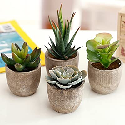 Assorted Decorative Artificial Succulent Plants with Gray Pots, Set of 4
