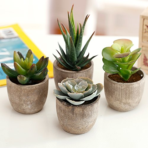 MyGift Assorted Decorative Artificial Succulent Plants with Gray Pots, Set of 4 by MyGift